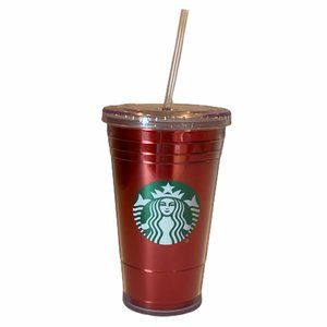 COPY - Starbucks Red Foil Cold Cup Tumbler with S…
